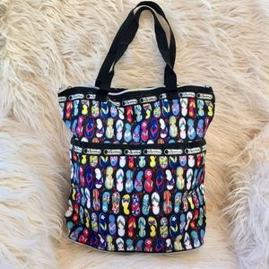 LeSportsac Zip Around Collapsible Flip Flop Tote